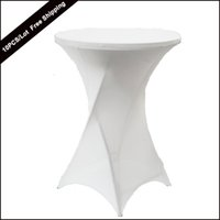 Wholesale Spandex Covers For Cocktail Tables - 10PC Lot New Dry Bar Cocktail Table Cover High Quality Polyester Spandex Stretch Highboy Table Cloth for Cocktail Table Covering of wedding