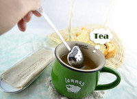 Wholesale Mesh Infuser Spoon - Heart Shaped tea infuser Mesh Ball Stainless Strainer Herbal Locking Tea Infuser Spoon Filter Free Shipping