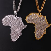 Wholesale Diamond South Africa - Hip hop pendant necklace, clear diamond Platinum gold-plated fashion map of Africa pendant necklace