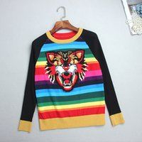 Wholesale Head Pulls - Top Rainbow Striped Pullovers Women 2017 Autumn Long Sleeves Tiger Head Jacquard Embroidery Women's Sweaters Pull Femme DH088