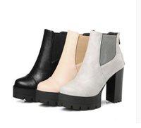fersen pumpt stiefeletten groihandel-Neue 2017 Sexy Frauen Stiefel Mode Plattform punk Platz high heels Schwarz stiefeletten Für Frau Marke Design Damen Schuhe DHA12