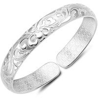 Bangle blessing flowers - 925 sterling silver items jewelry carven bracelets flower blossom chinese blessing words good luck inside new