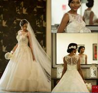 Wholesale Marriage Jewels - 2018 Vestios De Marriage Gorgeous Wedding Dresses Sheer Crew Neck South African Lace Appliques Wedding Gowns Arabic Dubai with Button Back