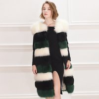Wholesale Woman Double Breasted Dress Coat - 4xl Wholesale-top quality New real Luxury fox fur vest women dress winter jacket coat waistcoat long genuine fox fur waistcoat china factory
