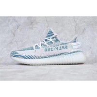 Wholesale Handmade Art Shoes - 2017 New Boost 350 V2 Teal Blue White Blue Zebra DA5690 Kanye West Sneakers Sply 350 Boost V2 Men Handmade Shoes With Box US7-12