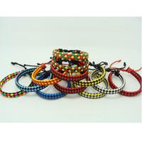 Wholesale Red Leather Braided Bracelet - Fluorescent Neon Color PU braided Leather Bracelet the anti-fatigue Bracelets 6 Colours