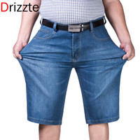 Wholesale Denim Jeans Light Blue - Wholesale-Drizzte Mens Plus Size 44 46 48 50 52 Jeans Shorts Light Blue Denim Short Jean Big and Tall Trousers Pants