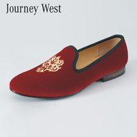 Wholesale Size 13 Wedding Dress - Handmade Men Red Velvet Slippers Loafers Slip-On Men's Flats British Designer Dress Shoes Luxury Party and Wedding Shoes Size US 7-13