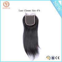 Wholesale Machining Parts Products - Grade 8A Brazilian Human Hair Products Maylisian Indian Peruvian European Human Hair Extensions Free Part Straight lace Closure 4*4size 35g