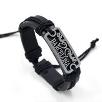 Wholesale Cup Chain Settings Wholesale - 2016 Hot Sale World Cup Fans Bracelets Wristband BARCELONA Alloy Identification Charm Bracelets Unisex Infinity Leather bracelets Bangles