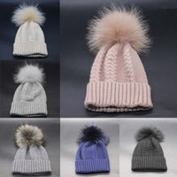Wholesale Head Cap For Winter - Fashion Raccoon Fur Ball Winter Tight Knitted Fur Hat Women Cap Headgear Headdress Head Warmer with 6 Colors FOR ADULT