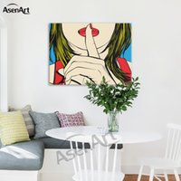 Wholesale canvases for oil painting - Ssshhh! Famous Design of Deborah Azzopardi Girl Painting Oil Canvas Prints Modern Mural Picture for Home Living Hotel Cafe Wall Decor