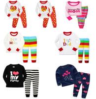 Wholesale Girls Shirts I Love Dad - Kids Pajamas Girls Long Sleeve Stripe Children Pajamas sets T-shirt+pants 2 pieces Letter I Love Mom Dad 6 sets l