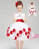 Wholesale Princess Bow Belt - Pretty Baby children 3D rose flower dress girls sleeveless sequin dress summer princess dress bow floral chiffon dress with belt