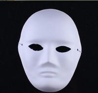 mascara bricolaje para fiesta de disfraces al por mayor-Navidad DIY mujer hombre cara blanca Máscaras Traje pintado a mano para Halloween Masquerade Party máscaras de cosplay máscaras faciales en blanco