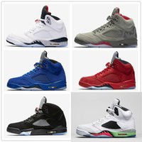 Wholesale Bel Sports - retro 5 white cement red blue suede women men camo basketball shoes Oreo bel air metallic black white grape 5s sports shoes sneakers