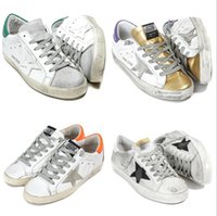 Wholesale Italy Designer Shoes - Italy Luxury Brand GGDB Superstar Shoe Man Casual Sneaker For Woman' Fashion Designer Dirty Style Star White Cheap Sneaker Orange Back