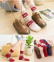 Wholesale wool deer socks resale online - Women Socks Christmas Deer Cartoon Design Casual Knit Wool Socks Men Winter Warm Shorts Ankle Socks Meias Calcetines