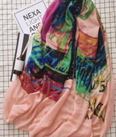 Wholesale linen scarfs - New Women fashion autumn long scarfs pink color with colorful pattern printing linen material soft and warm