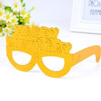 Wholesale happy new year glasses - Happy Birthday Spectacles Eco Friendly Glitter Paper Glasses Masked Ball PartySupplies Mask Eyeglass For Child Popular 1 5hq B R