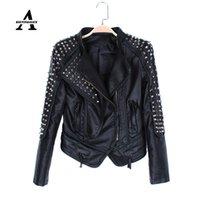 Wholesale Leather Jacket Woman Spikes - Wholesale-Black Leather Jacket Women Punk Rivets Studded Motorcycle Spiked PU Streetwear Leather Jackets Cazadora Cuero Mujer