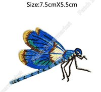 Wholesale Iron Dragonfly - HIGH QUALITY Blue Purple Lavender Dragonfly FULL Embroidered Patch Astrology Sign Craft iron on Animals Badge clothing applique