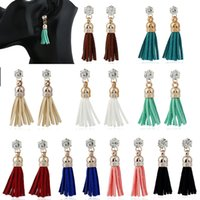 Barato Perna De Strass-Moda Bohemia Big Crystal Rhinestone Long Tassels Dangle Stud Earrings Eardrop Ear Studs 9 Styles Jóias de casamento B977L