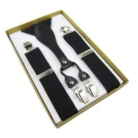 Wholesale Mens Clip Y Suspenders - Wholesale-Free Shipping 2015 Hot Sale Mens 3.5 cm Width Adjustable Suspenders Four Clip-on Y-Back Solid Black Elastic Braces For Male