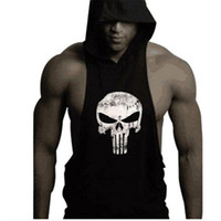 Wholesale Skull Vest Tops - Wholesale-2016 mens bodybuilding clothing gym sleeveless hoodie the punisher skull tank top racerback undershirt vest stringer tank tops