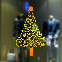 Wholesale Pvc For Christmas Trees - wall sticker Christmas Decoration gold Christmas tree Creative Carved festival stickers Removable Windows art Sticker home Decor Wholesale