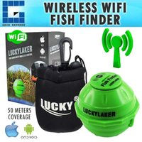 medidor de sonar al por mayor-FF-916 Wireless 50M WIFI Sonar 130 PIES (45 metros) Batería Lithuim recargable IPHONE IPAD IOS Android Fish Finder con bolsa de neopreno