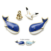 Wholesale Whale Earrings - 4pcs set Whales Stud Earrings for women girls Color Seagulls earrings Design drop glazed gold plated anchors stud earrings fashion jewelry