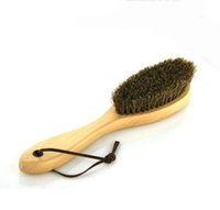 Wholesale Boot Polish - New 1PC Shoe Polish Buffing Brush Wood Horse Hair Bristles Boot Care Clean Long Handle Shoe Brush