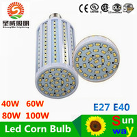Wholesale E39 Led Bulbs - High Power 40W 50W 60W 80W Chandelier Led Lights Bulbs E27 B22 E40 Led SMD 5730 Corn Lights 360 Angle AC 110-240V