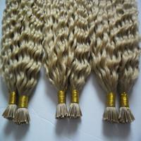 insan saç uzantılarına saplandım toptan satış-100 g / ipliklerini 3 demetleri Remy Saç Uzantıları Keratin I Ucu Saç uzantıları Sarışın Brezilyalı Kinky Kıvırcık İnsan Saç Uzantıları Keratin