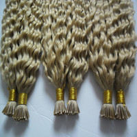 Wholesale Keratin I Tipped Hair Extensions - 100g strands 3 bundles Remy Hair Extensions Keratin I Tip Hair Extensions Blonde Brazilian Hair Kinky Curly Human Hair Extensions Keratin