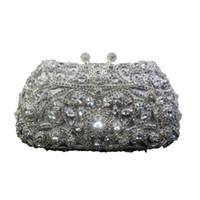 Wholesale Diamante Clutch Bags - Unique Diamante Diamond Silver Handbag Crystal Evening Bag Clutch Purse Party