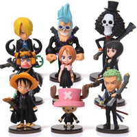 Wholesale Mini Toy Hats - Anime One Piece Mini Action Figures The Straw Hats Luffy Roronoa Zoro Sanji Chopper Figure Toys 9pcs set free shipping