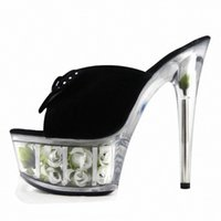 Brillant chaussons 15CM Super High Heel Shoes 6 Inch Heel Platform Sandal avec strass Suede Rose Floral Chaussures