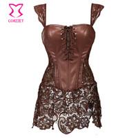 Wholesale Gothic Leather Dresses - Wholesale-Steampunk Brown Lace and Leather Corset Dress Punk Gothic Clothing Sexy Korset Waist Training Corsets Plus Size Lingerie 6XL