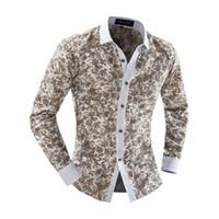 ingrosso blu floreale bianco-All'ingrosso-autunno manica lunga Casual Uomini camicia floreale blu e bianco della porcellana della stampa patchwork di disegno unico uomo camicia di modo 13M0454