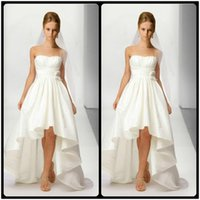 Wholesale Taffeta Empire Wedding Dress Pink - 2017 New Arrival Strapless Taffeta Ivory Short Front Long Back Wedding Dresses High Low Wedding Bridal Gowns
