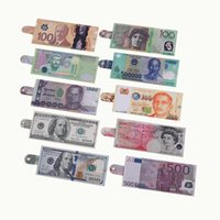 Wholesale Wholesale Long Mens Wallets - New Fashion Chic Womens Mens Unisex Currency Notes USD Dollar GBP Pound AUD EURO Pattern Wallet Purse