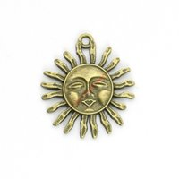 Wholesale Wholesale Pendant Charms Bronze - 15pcs Antique Bronze Plated Sun Face Charms Pendants for Bracelet Jewelry Making DIY Necklace Craft 33x29mm