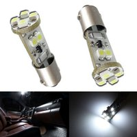 Wholesale Ba9s Led Error Free - 20PCS LOT White 8SMD CANbus Error Free BA9S 3528 LED Interior Dome Lamp Modified Light