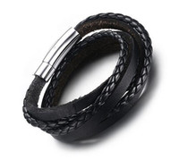 Wholesale Multi Strand Leather Bracelets - Fashion New Hand-made Mens Black Braided Real Leather Bracelet Multi-strand Genuine Leather Wristband Rope Woven Bracelets Men