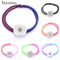 Wholesale Hair Snaps - VOCHENG NOOSA Elastic Hair Bands Ginger Snap Hair Jewelry 6 Candy Colors Fit 18mm Charms NN-481