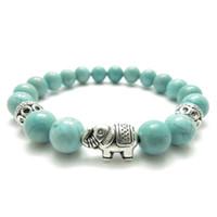 Wholesale beads elephant bracelet - SN1116 Sacred Elephant Healing Mala Bracelet Yoga Jewelry Turquoise Wisdom Bracelet Meditation Beads Wrist Mala Natural Stone Bracelet