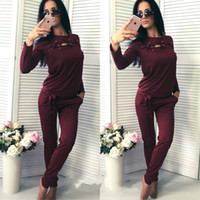 Wholesale Casual Baseball Sweater - Autumn dress long sleeved sweater two piece suit casual sportswear suit