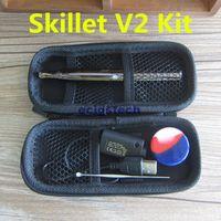 Wholesale Silver Donut - E cigarette wax vaporizer kit puffco Skillet vape pen kit with dual ceramic coil dual quartz coil ceramic donut coil W6 vaporizer
